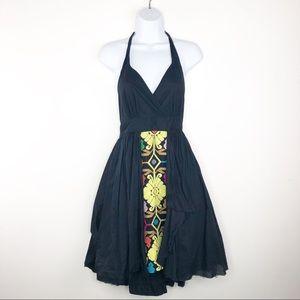 🌿 Floreat Black Embroidered Halter Dress